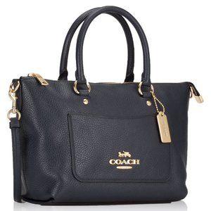 Coach Pebbled Leather Mini Ema Satchel Midnight